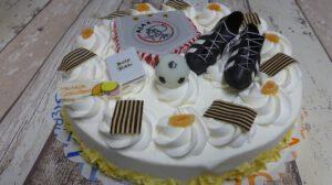 Communie Ajax Rond, foto taartenpagina, taarten, bakkerij rob janssen, elsloo, top taarten, naar wens maken, elsloo, zuid limburg, communie, verjaardag,