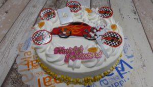Communie Auto rond, foto taartenpagina, taarten, bakkerij rob janssen, elsloo, top taarten, naar wens maken, elsloo, zuid limburg, communie, verjaardag,
