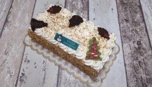 Roomboter creme boomstam met Kerstdecoratie, bakkerij rob janssen, taarten, foto pagina, elsloo, Kerstdecoratie