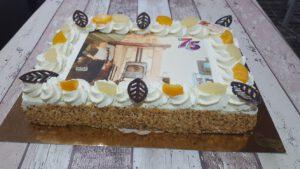 taart 75 jarige, foto taartenpagina, taarten, bakkerij rob janssen, elsloo, top taarten, naar wens maken, elsloo, zuid limburg, communie, verjaardag,