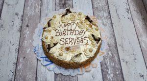 Roomboter creme taart met tekst (10 pers), bakkerij rob janssen, elsloo, taarten, gebak, ambachtelijk